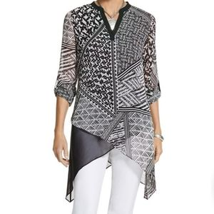 CHICO'S Graphic Twist Shula Shirt